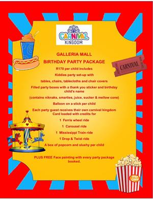 KIDDIES PARTY VENUE HIRE PACKAGE