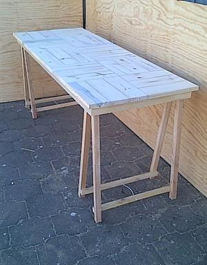 Patio table Cottage series 1840 with trestle legs - Raw