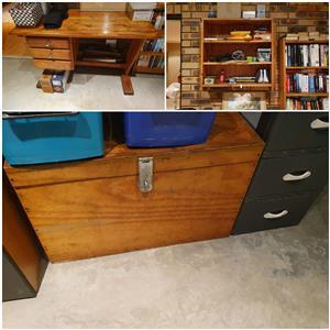 Pine desk, book shelf and trunk