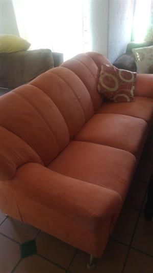 2 x 3 seater suede Couches giveaway price ..first reasonabale offer