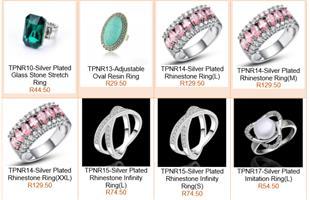 Silverplated rhinestone ring