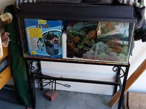 LARGE FISH/MARINE TANK WITH SOLID WROUGHT IRON STAND