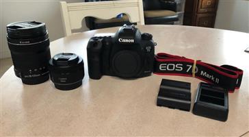 MINT Canon EOS 7D Mark II Digital SLR Kit w/ 18-135mm & 50mm For Sale