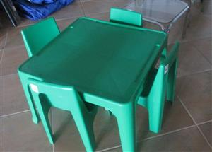 Plastic Table & 4 Chairs