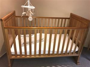 Solid oak cotbed and mattress