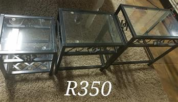 Set of 3 glass top tables
