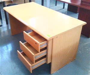 Oak straight desk plus 3 dr fitted pedestal