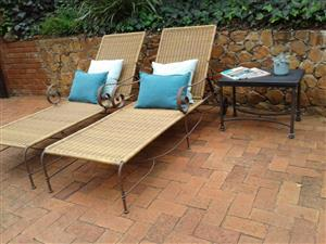 LOUNGERS x 2 and side TABLE. WETHERLYS STEEL/ALUMINIUM FRAME with RATTAN 2 x LOUNGERS 1 x SIDE TABLE