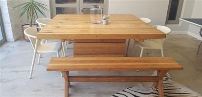 Wooden dining table with 2 benches