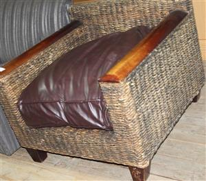 S035255A Brown cane leather chair #Rosettenvillepawnshop