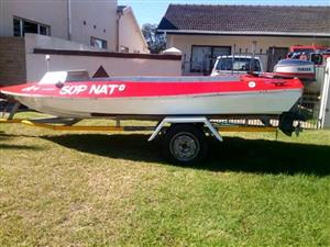 Open boat with 25yamaha 15cover for sale or swop