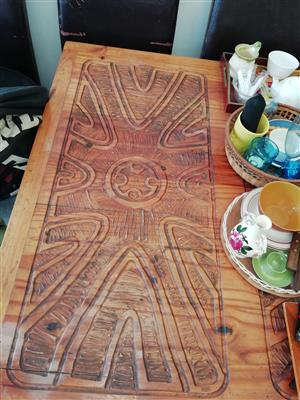 Solid wood carved table