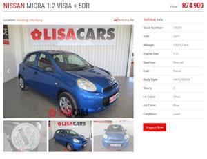2011 Nissan Micra 1.2 Visia+