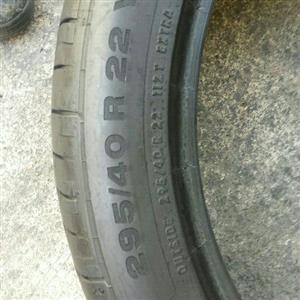 two quality second hand tyres sizes 295/40/22 nominal now available