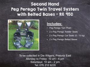 Second Hand Peg Perego Twin Travel System with Belted Bases