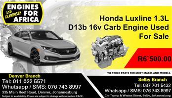 Honda Luxline 1.3L D13b 16v Carb Engine Used For Sale