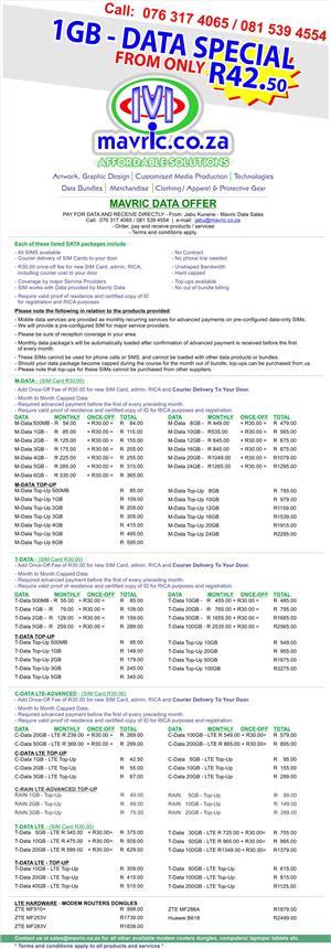 DATA - BEST PRICES - Jabu Kunene - Mavric Data Sales