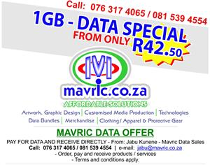 Data 1GB FROM ONLY - R 42.50