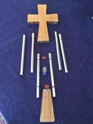 Unique handmade Wooden Crucifix Windchime!
