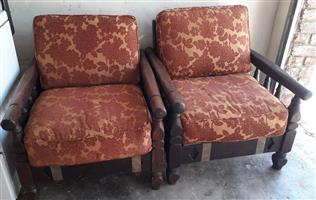 2 x vintage solid wooden chairs