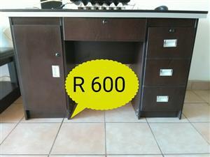 3 Drawer dark wooden desk for sale