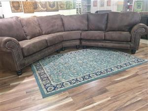 Exotic 100% genuine full leather corner lounge suite WAS R 32995 NOW R 29495