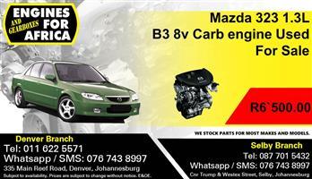 Mazda 323 1.3L B3 8v Carb engine Used For Sale.