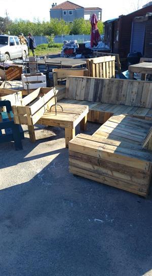 Wooden pallet L Shape patio bench for sale