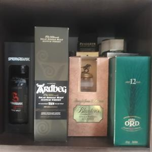 Whisky collection.  39 assorted bottles.  No Johnny Walker.  From R500 upwards a bottle.  All as good as new.
