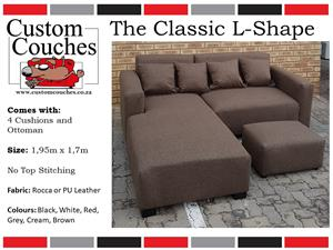 THE CLASSIC L-SHAPE 1.95m X 1.7m R2950 ONLY,COMES WITH 4 CUSHIONS AND A FREE OTTOMAN,ORDER YOURS