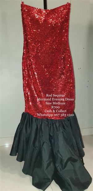 Red Sequins Evening Dress R700