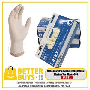 Million Care Pre Powdered Disposable Medium Size Gloves 200 pairs