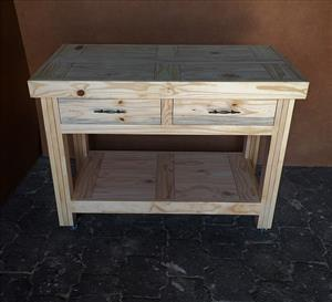 Kitchen Island Farmhouse series 1180 with 2 drawers mobile Raw