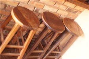Bar stools for sale. 5x solid wood stools. Retails at R800 each. My price R200 each