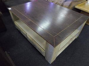 Wooden Coffee Table + 4 Drawers