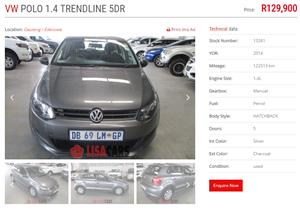 2014 VW Polo Vivo 5 door 1.4 Trendline auto