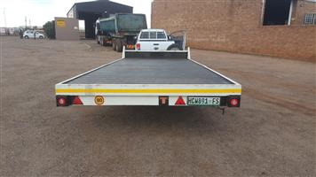 6m flat bed double axle trailer