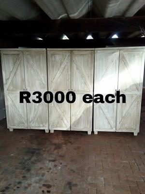 3 Light wooden 2 door closets