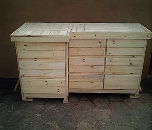 Compactum Farmhouse series 1600 L shape change-over table - Raw