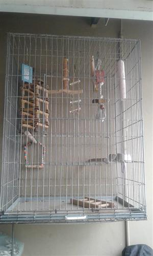 Large galvanised parrot cage with stainless feeding bowls