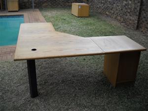 L-shape desk with pedestal