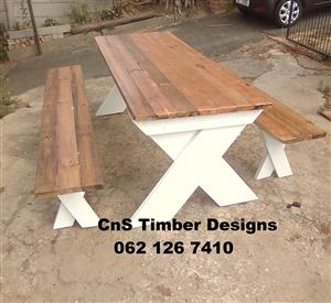 Cross Legs Table and Benches