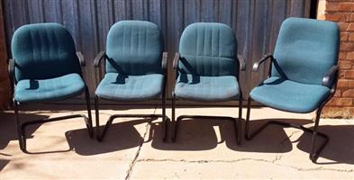 4 Blue office chairs for sale
