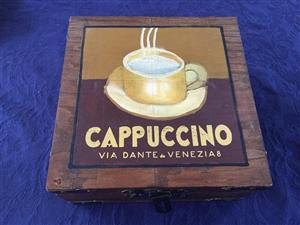 "Quaint ""Cappuccino"" Wooden storage box"