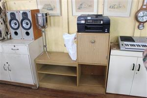 Wooden telephone cabinet and printer