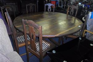 Wooden Stinkhout Dining Room Table + 8 Chairs