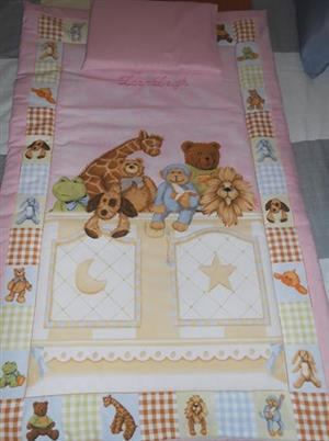 comforter and pillowcase suitable for cot or camp cot