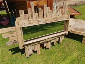 Wooden pallet framed rectangular mirror for sale