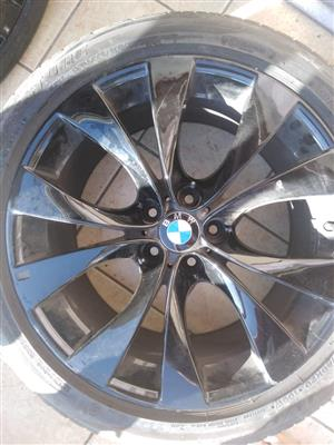 X5 Original 20inch rims with tyres, gloss black
