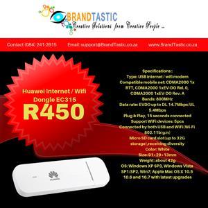 Huawei Internet / Wifi Dongle EC315 @ R450 (Plug & Play)